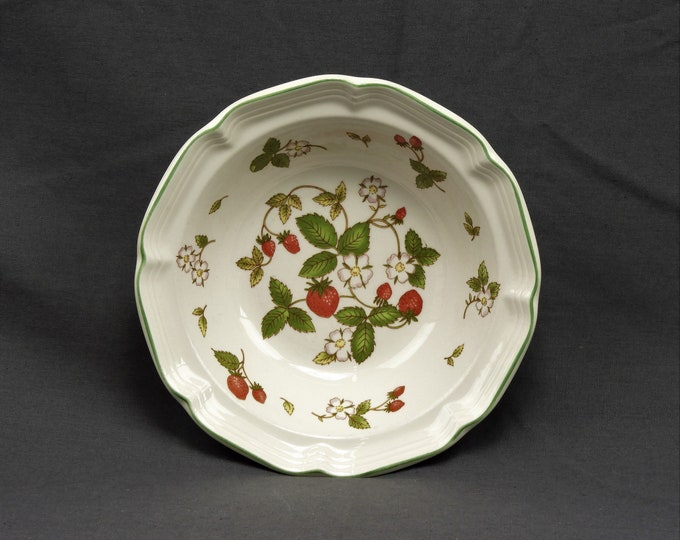 Vintage Hankook Bowl, Strawberries & Blooms, White w/ Red and Green, China Dinnerware, Scalloped Rim, Kitchen Decor, Made in Korea