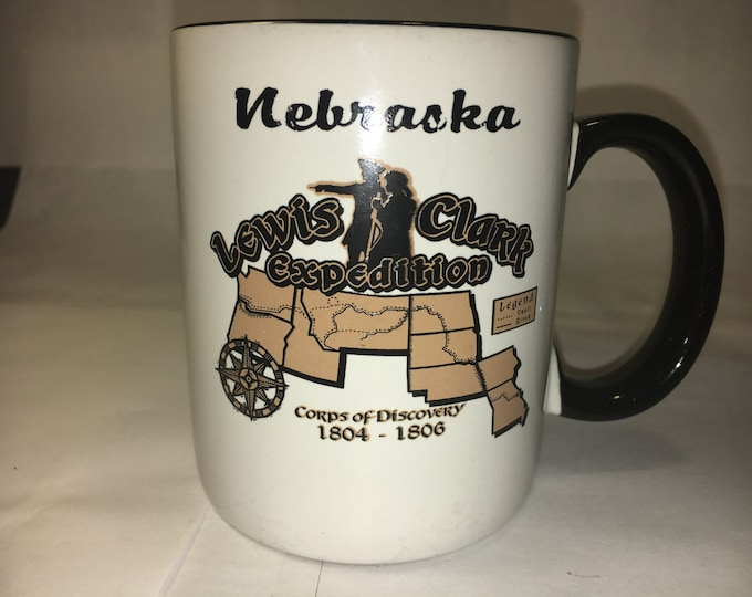 Vintage Nebraska Mug Cup Lewis & Clark Expedition Corps of Discovery 1804-1806 White w/Black Trim Mug Black Handle made in China