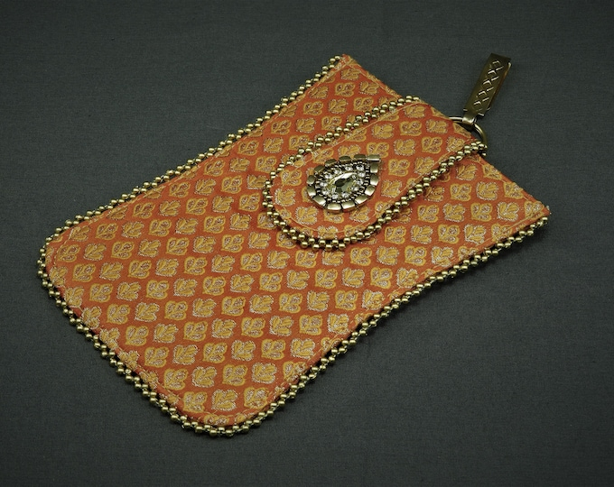 Vintage Oriental Clutch, Asian Evening Bag, Embroidered Gold Leaf, Orange Glass Case, Belt Clip, Magnetic Closure, Women's Fashion