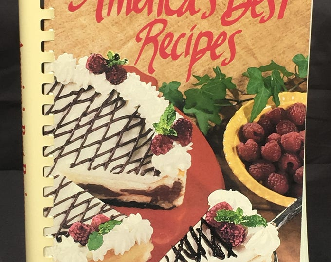 Vintage Cookbook, America's Best Cookbook 1996, White Red Decorative Recipe Book, First Printing Oxmoor House Text, Kitchen Library Manual