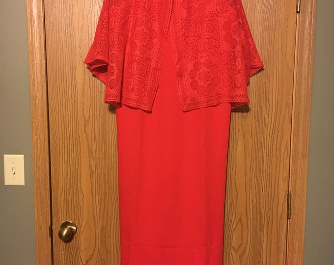 Vintage Red Evening Gown, Sleeveless Size 8, see Measurements Below, Lace Jacket Dress, Rare Retro Formal or Fun Dress, 1980's Clothing