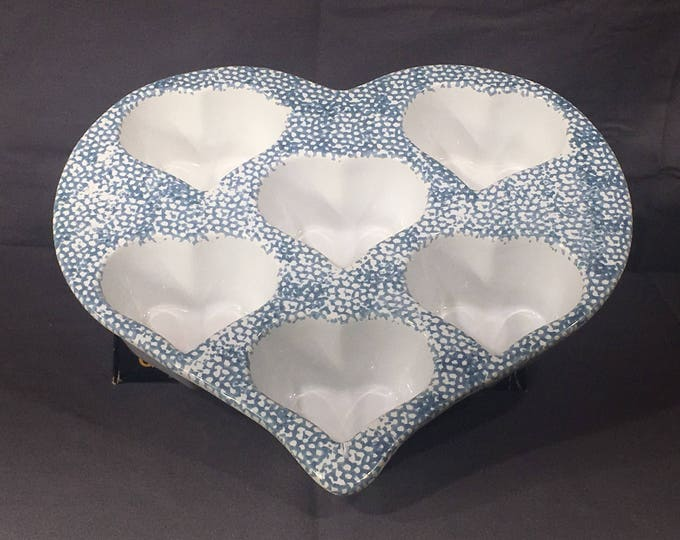 Vintage Heart-Shaped Pan, Decorative Stoneware Mold, Blue White Valentine Baking Dish, Heart Candle Holder, Cupcake Bakery Dish