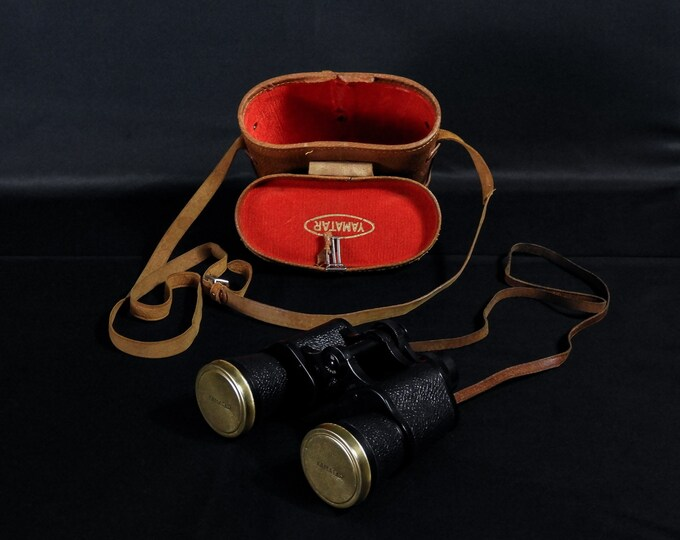 Vintage Yamatar Binoculars, 8 x 40 Glasses, Black w White, Fully Coated Optics, Brown Case, Tooled Leather, Japanese Gadget, Collectible