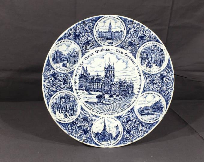 Vintage Quebec Plate, Old Quebec Ironstone Collectible, Blue White Ceramic Dish, Decorative Canadian Souvenir, Historic Quebec Traveler Art