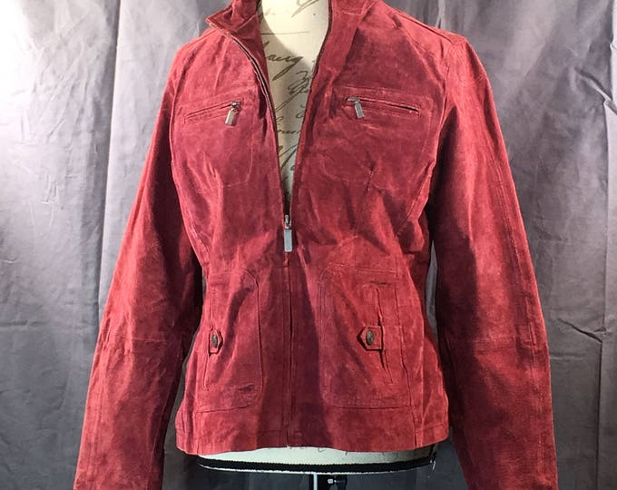 Vintage Womens Leather Jacket, Medium Ruff Hewn Coat, 100% Genuine Suede Leather Coat, Womens Leather Clothing, Red to Berry Leather Coat