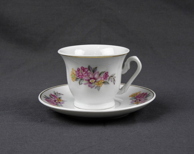 Vintage Tea Cup & Saucer, Mini China Teacup, White w/ Pink, Childs Play, Kitchen Decor, Dining Room Decoration
