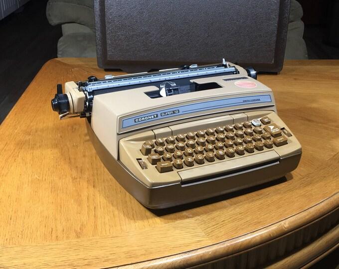 Vintage Smith-Corona Typewriter, Decorative Beige Brown Super 12, Coronamatic Model 6E Machine, Collectible Office Decor