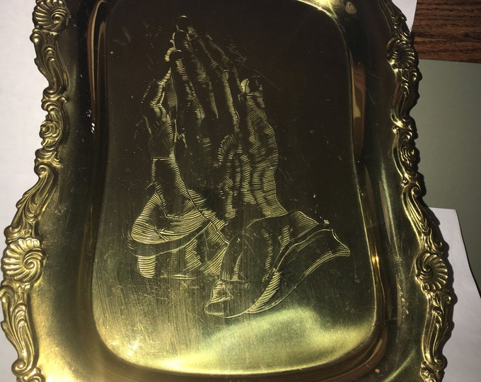 "Vintage Praying Hands Brass Platter, Gold Server Plate, Artistic Line Solid Brass 13"" long x 9.5"" wide, Collectible Brass"