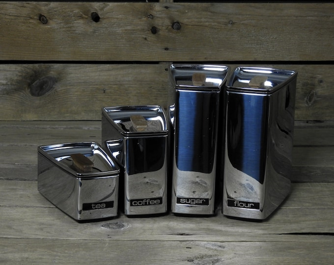 Vintage Kitchen Canisters (4), Lincoln Beautyware, Chrome w Black, Wooden Handles, Home Decor, Wedge Shape, Coffee Tea Cans, Metal Storage