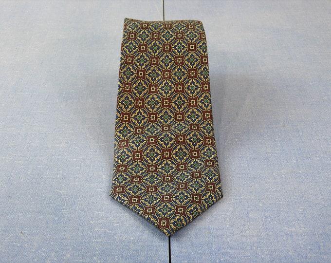 "Vintage Purple Tie, Gothic Cathedral, Silk Necktie, Lands End, Direct Merchant, V819 Hand Sewn, Mens Fashion Closet, Blue Long 59"""