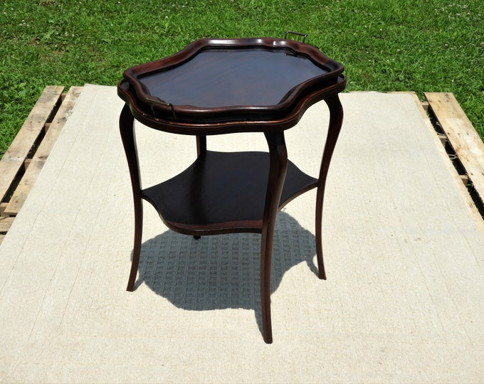 Antique Side Table, Edwardian Furniture, Removable Glass Top Stand, Black Walnut Accent, Decorative Entryway Furnishing, Scalloped Serving