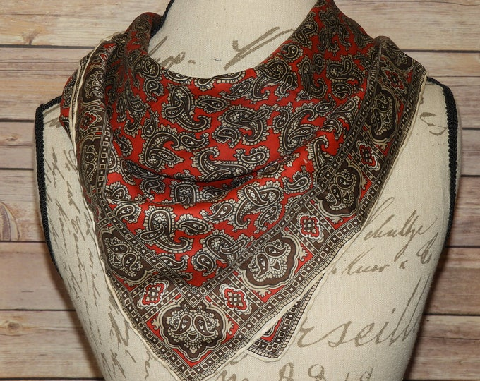 """Vintage Paisley Handkerchief, Soft 26"""" x 26"""", Red Brown Scarf, Retro Coat Sweater Scarf, Country Western Scarf, Fashion Mini Shawl"""