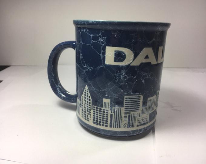 Dallas Mug, Blue Dallas Cityscape Mug, Dallas Texas Souvenir, Ceramic Embossed Marble Cup, Blue & White Mug, Lonestar Memorabilia