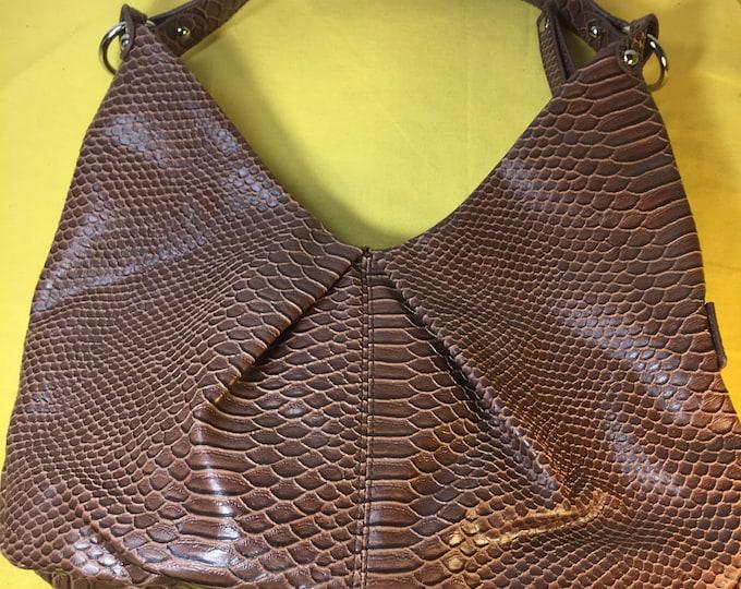 Vintage Stone & Co Brown Leather Shoulder Bag, Handbag Stone and Company, Alligator Faux Shoulder Bag,