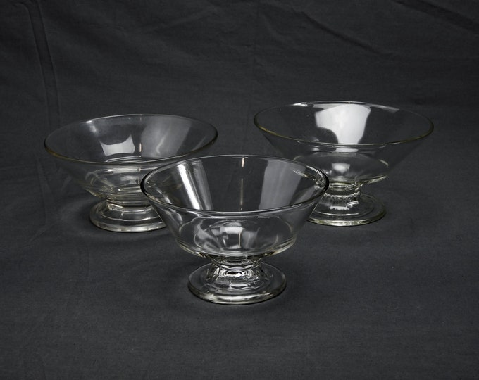 Vintage Glass Compotes (3), EAPG McKee Empire, Clear Bowls, Footed Base, Serving Dishes, Round Glassware, Dessert & Fruit, Kitchen Decor