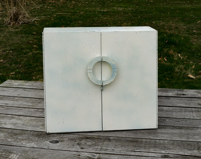 Vintage Metal Cabinet, Mid Century Modern, Industrial Shelf, Wall Hanging, Distressed White, Off White w Green, Interior Shelves, Home Decor