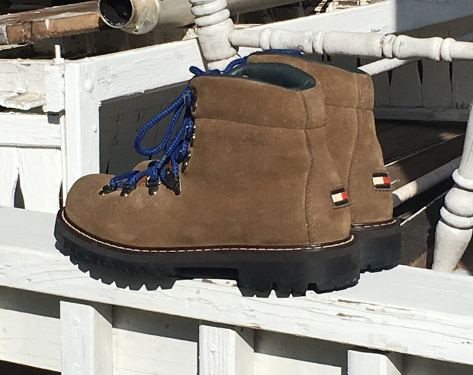 Vintage Tommy Hilfiger Boots, Mens 7M Leather Hiking Boots, Brown Beige Blue Outdoor Shoes, Unisex Boots, Collectible Fashion Boots