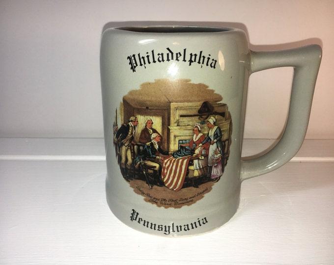 Vintage Americana Primitive Stein, Patriot Gift Mug Stein, Gray Stars & Stripes Betsy Ross Mug Cup, Bicentennial Stein, Walter J Siebold Art