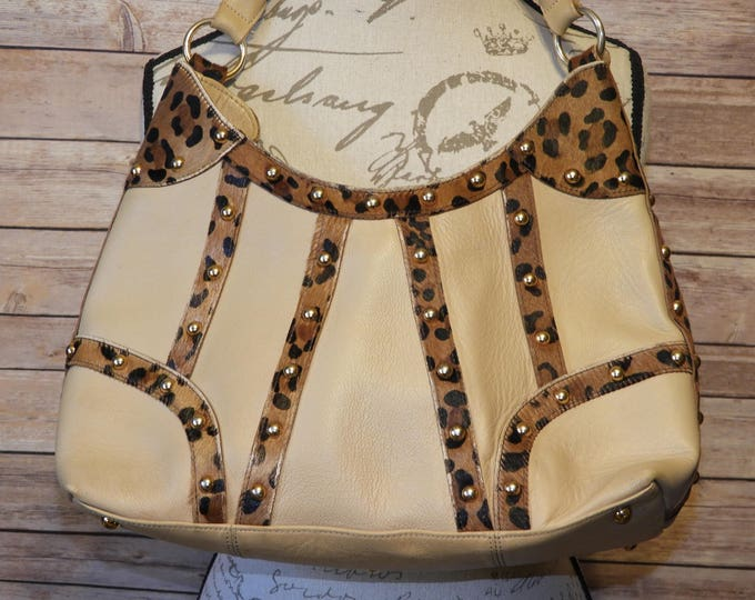 Vintage Beverly Feldman 100% Leather Handbag, Authentic Genuine Leather Purse,Shoulder Bag Animal African Cheetah Leopard Spots, Evening Bag