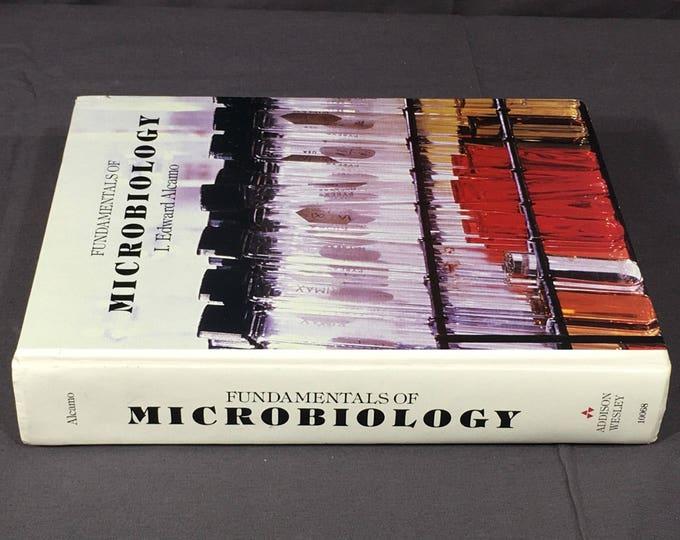 Vintage Microbiology Book, Fundamentals of Microbiology, I Edward Alcamo Text, Decorative Study Reference, White & Black Hardback Book