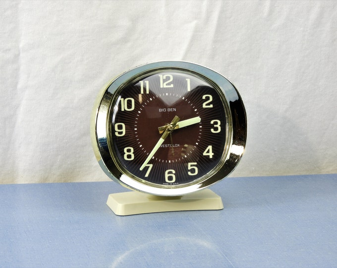 Vintage Big Ben Clock, Brown Westclox Alarm, Glow In Dark, Brown Face, Off White Body, Oval Front, Made in USA
