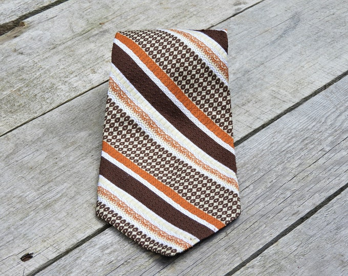 Vintage Copper & Brown Necktie, International Collection Tie, Towncraft Polyester, Mens Fashion Accessory, JC Penney Clothing, Retro Necktie