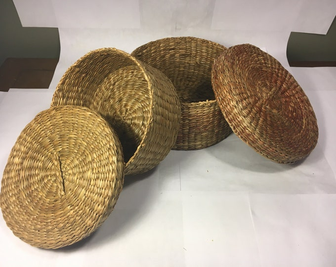 Vintage Woven Wicker Boxes, Nesting Baskets (2), Gold and Red Basket, Wooden Kitchen Decor, Vanity Dresser Storage