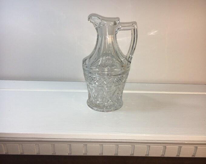 Vintage Cruet Pitcher, Cut Glass Oil Vinegar Cruet Mini-Pitcher, Clear Resica Bottom Cruet, Raised Handle Diamond Belt Cruet, Glass Pitcher,