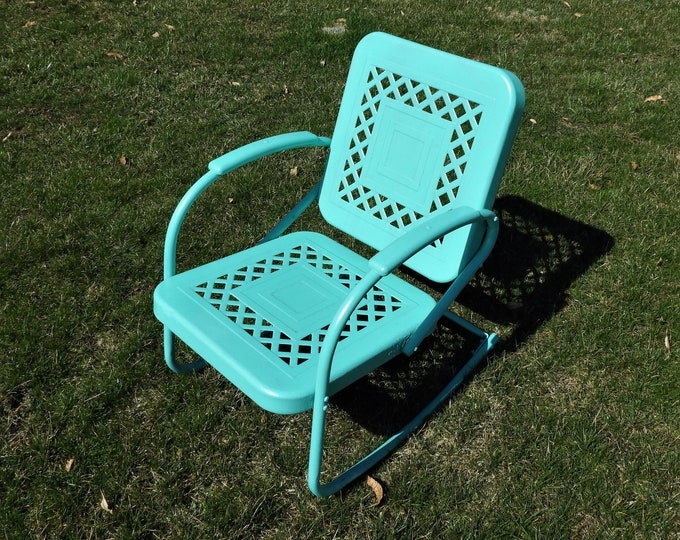 Mid Century Metal Chair, Rare Floating Rocker, Bunting Glider Co, Turquoise Green Furniture, Loft Apartment Decor, Industrial Decoration