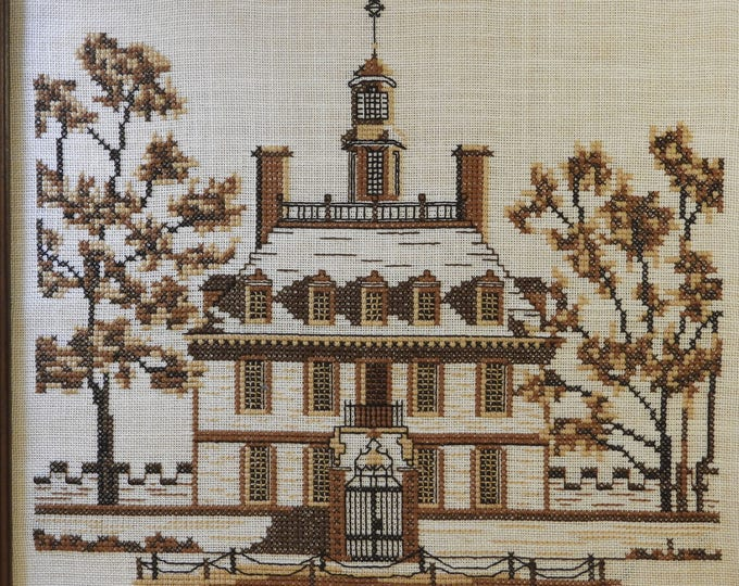 Vintage Cross Stitch Southern Plantation House,Decorative Wall Hanging Art USA History,Framed Textile Sewing,Reflections Canvas White Brown
