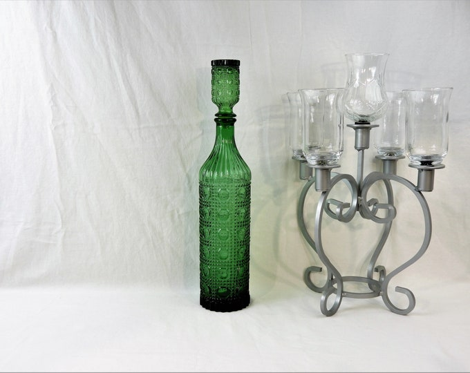 Vintage Green Decanter, Tall Cut Glass Bottle, Dot & Diamond Hobnail, Cylindrical Barware, Kitchen Decoration, Collectible Decor, Sawtooth