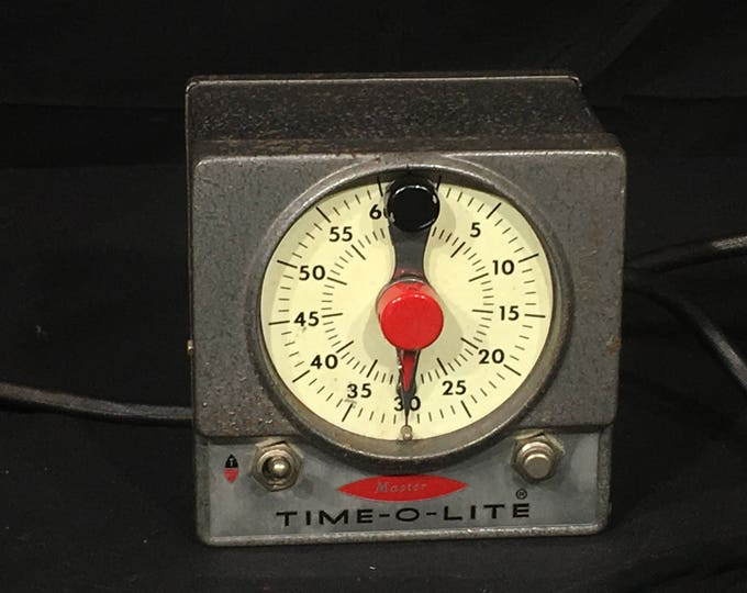 Vintage Time-O-Lite, Singer Industrial Timer Division M-59, Singer Master Timer, Decorative Gray Red Gadget, Retro Electronic Collectible