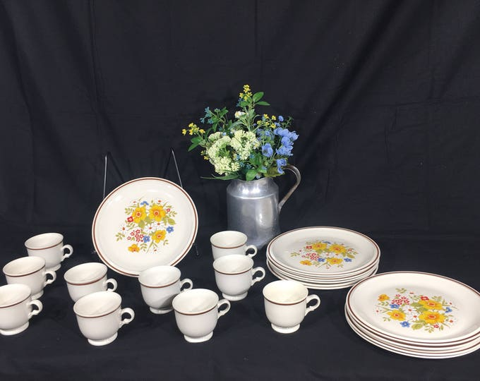 Vintage Hearthside Dinnerware (20 pcs), Casual Elegance Stoneware, Yellow & Brown Hearthside Plates Cups, Decorative Floral Garden Ceramics
