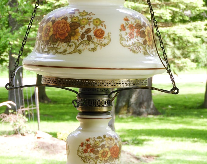 Vintage Hanging Hurricane Lamp, Brass & Glass Kitchen Light, Decorative White Floral Light, Three Chain Chandelier, Round Milk Glass Fixture