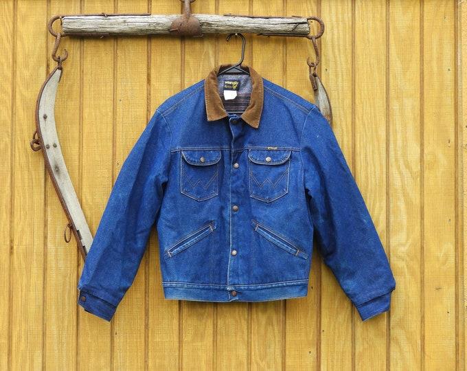 Vintage Wrangler Cowboy Jacket, Mens 44 Denim Trucker Coat, Blanket Lined Blue Jean Jacket, Brown Corduroy Collar Coat, Western Cowboy Coat