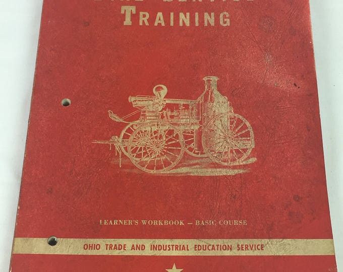 Vintage 1962 Fireman Book, Fire Service Training Guide, Fire Fighter Workbook, Decorative Red White Collectible, Trade & Industrial Decor