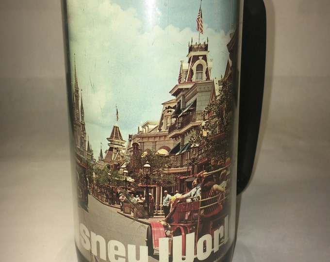 "Vintage 1974 Walt Disney Collectible Mug Cup Tumbler Thermo Serv Plastic Magic Kingdom 6.25"""