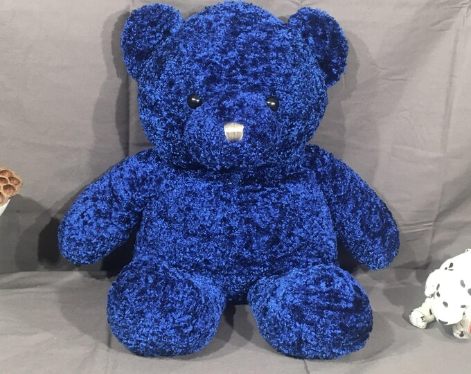 Vintage Dan Dee Bear, Rare Color Plush Teddy Bear Toy, Decorative Shiny Purple Blue Bear, Collectors Choice Teddy Bear, Rare Teddy Bear Kids