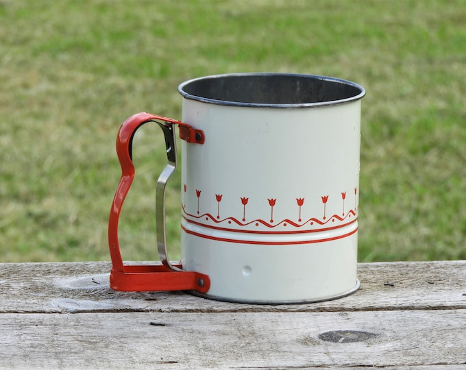 Vintage Flour Sifter, White & Red Kitchen Decor, Two Screen Androck Baking Tool, Decorative Metal Art, Country Farm Collectible