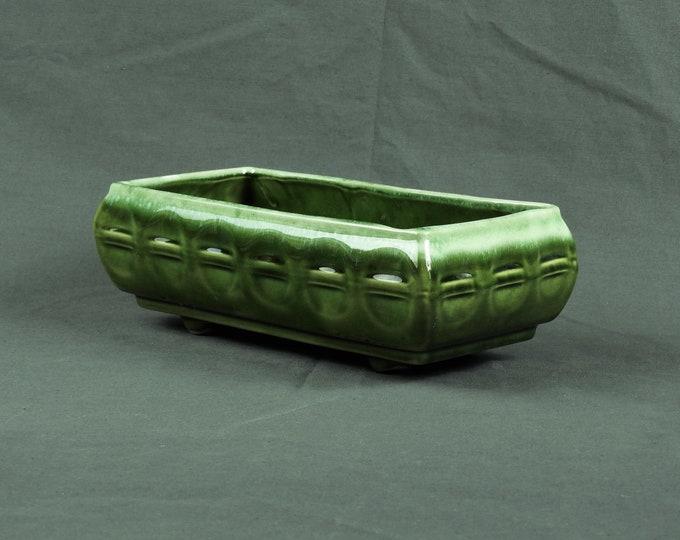 Vintage Green Planter, Cookson Pottery, CP 560 USA, Footed Base, Rectangular Shape, Drop Glaze, Home Decor, Entryway Decoration, Roseville