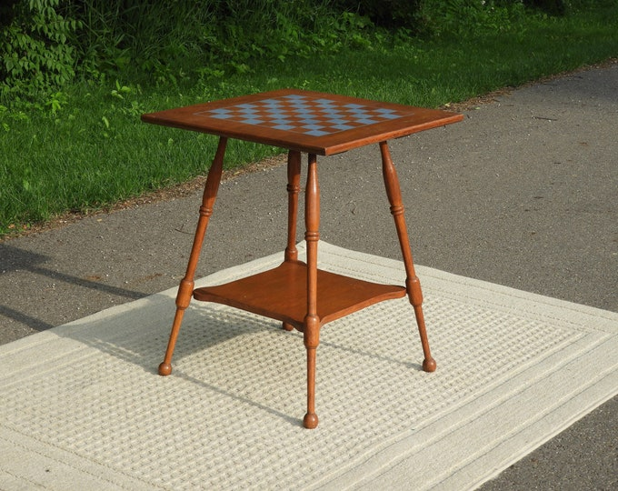 Vintage Checkerboard Table, Wooden Game Table, Decorative Gold Brown Side Table, Parlor Accent, Wood Radio Stand, Mid Century Furniture