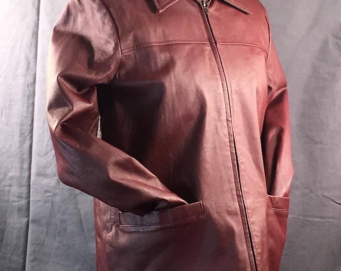 Vintage Womens Leather Jacket, Phase Two Size Small Womens Coat, Red Oxblood Evening Jacket, Designer Leather Clothing, Womens Coat