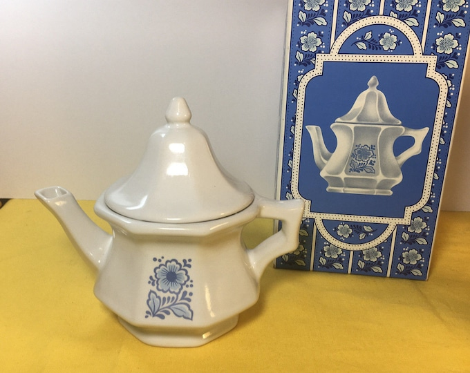 Vintage Avon China Teapot Perfumed Candle Holder, White & Blue Teapot Candle Holder, Avon Products New York, New York, 6""