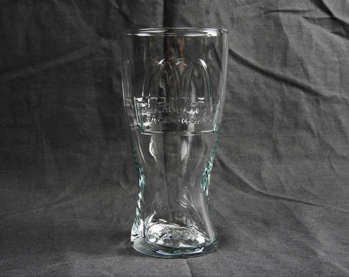Vintage 1992 McDonalds Tumbler, Clear Glass, Drinkware Cup, Collectible Glassware, Kitchen Decor, Fast Food Souvenir, Glass Dinnerware