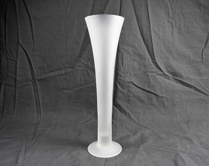 "Vintage Satin Trumpet Vase, Frosted Glass, Home Decor, Clear Translucent, Mouthblown in Poland, Entryway Centerpiece, 14.5"" Tall"