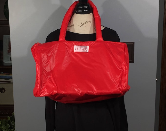 Vintage LaTique Parachute Bag, Very Rare HandBag, 1980's Parachute Duffle, Womens Gym Bag, Puffy Red Overnight Bag, Fashion Shoulder Bag