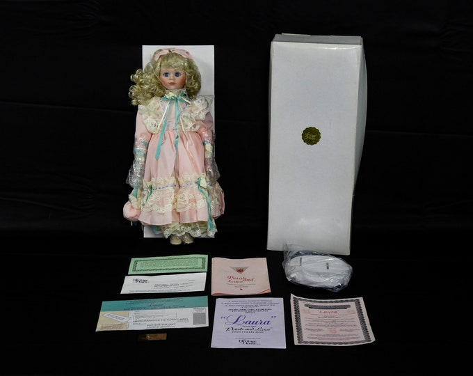 Vintage Musical Doll, Porcelain Laura, Heritage House, Limited Edition, Petals & Lace, 1369 of 9800, Authentic Collectible, Home Decor