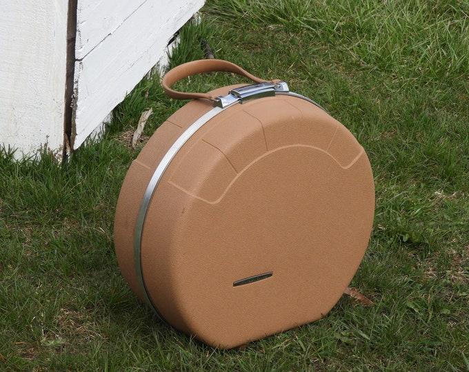 Vintage Starflite Train Case, Round Carryon, Brown Gold Luggage, Retro 1960's Overnight Case, Chrome Trim Luggage