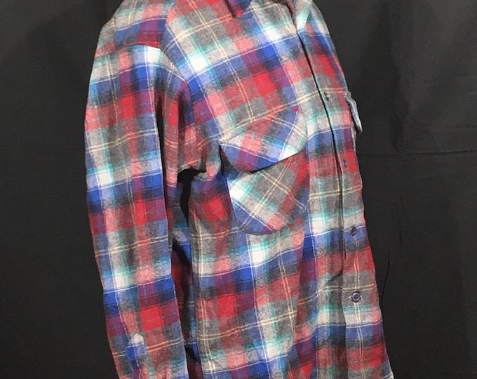 Vintage Wool Button-Up Shirt, Pendleton Woolen Mills Large Long Plaid Shirt, Red & Blue Work Shirt, 100% Virgin Wool Shirt, Stripe Clothes