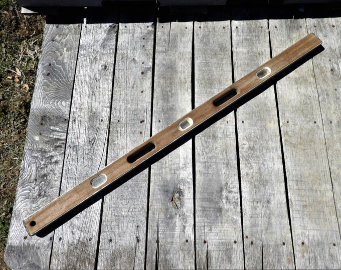 """Vintage American Level, 48"""" Wood Tool, VA 060930, Gray Industrial Decor, Carpenters Instrument, Aluminum Rails, Bubbles Intact"""
